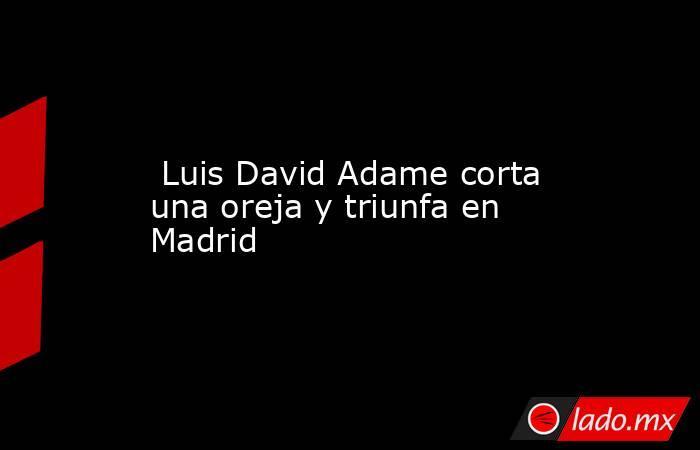 Luis David Adame corta una oreja y triunfa en Madrid. Noticias en tiempo real