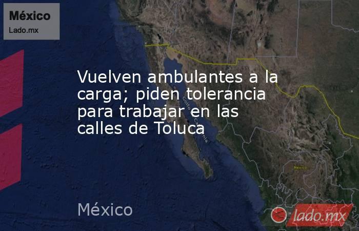 Vuelven ambulantes a la carga; piden tolerancia para trabajar en las calles de Toluca. Noticias en tiempo real