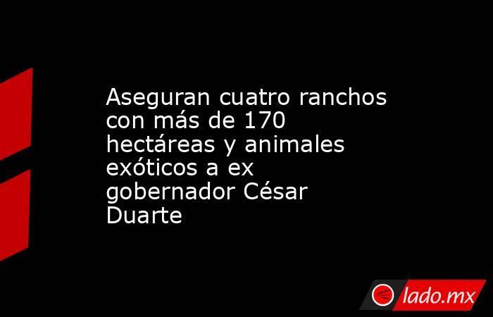 Aseguran cuatro ranchos con más de 170 hectáreas y animales exóticos a ex gobernador César Duarte. Noticias en tiempo real
