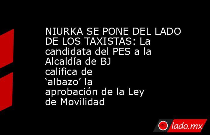 NIURKA SE PONE DEL LADO DE LOS TAXISTAS: La candidata del PES a la Alcaldía de BJ califica de 'albazo' la aprobación de la Ley de Movilidad. Noticias en tiempo real