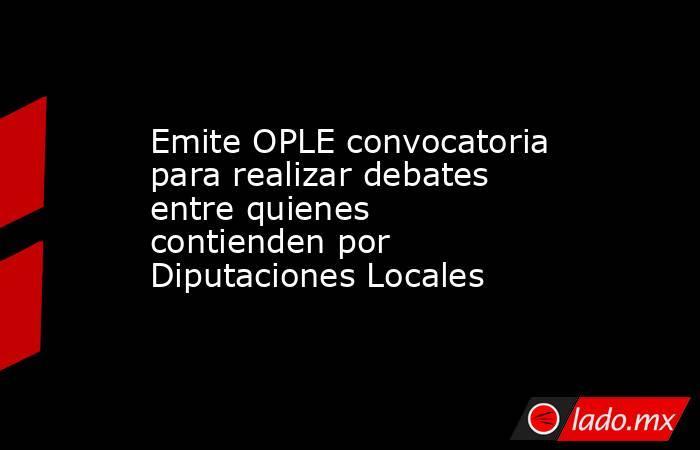Emite OPLE convocatoria para realizar debates entre quienes contienden por Diputaciones Locales. Noticias en tiempo real