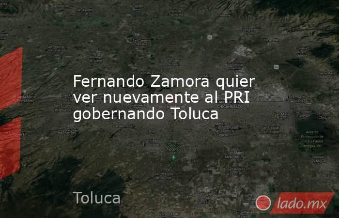 Fernando Zamora quier ver nuevamente al PRI gobernando Toluca. Noticias en tiempo real