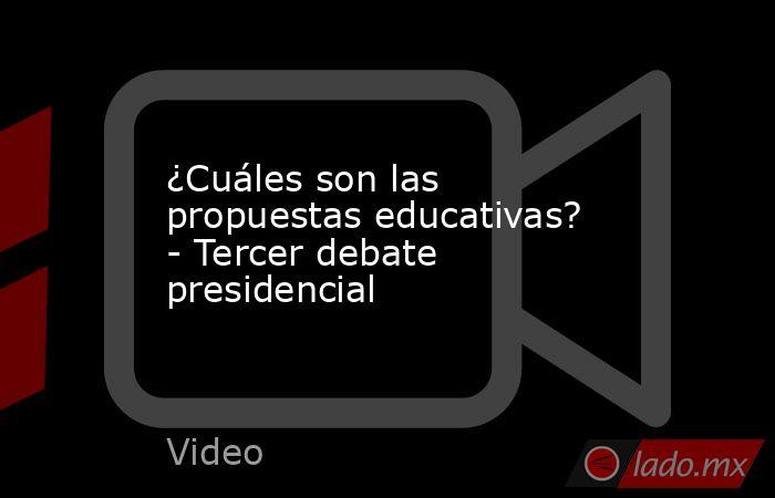 ¿Cuáles son las propuestas educativas? - Tercer debate presidencial. Noticias en tiempo real