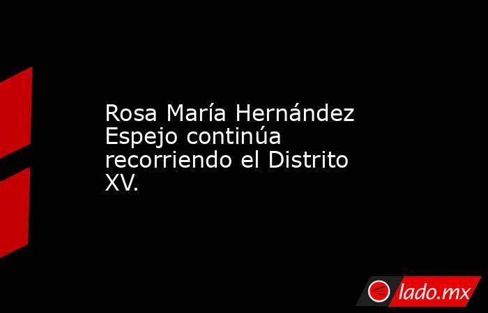 Rosa María Hernández Espejo continúa recorriendo el Distrito XV.. Noticias en tiempo real