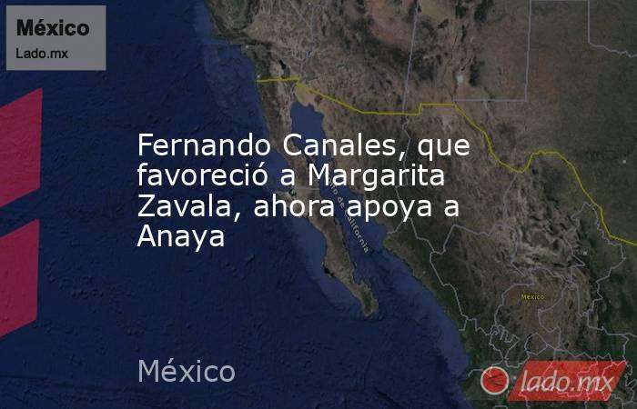 Fernando Canales, que favoreció a Margarita Zavala, ahora apoya a Anaya. Noticias en tiempo real