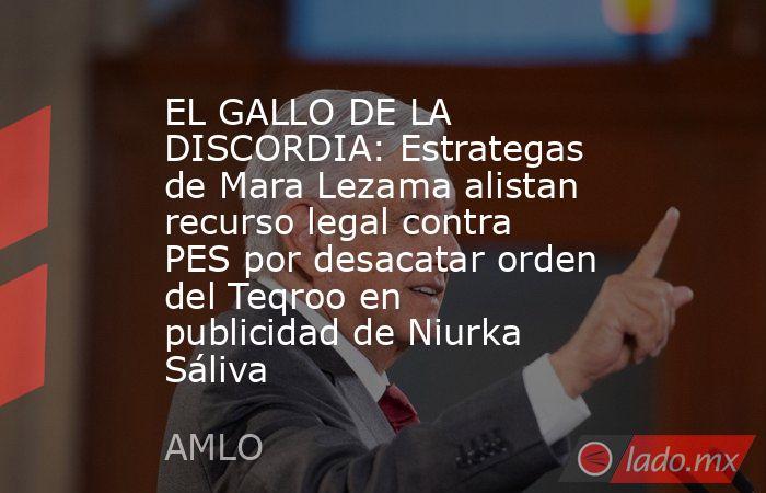 EL GALLO DE LA DISCORDIA: Estrategas de Mara Lezama alistan recurso legal contra PES por desacatar orden del Teqroo en publicidad de Niurka Sáliva. Noticias en tiempo real