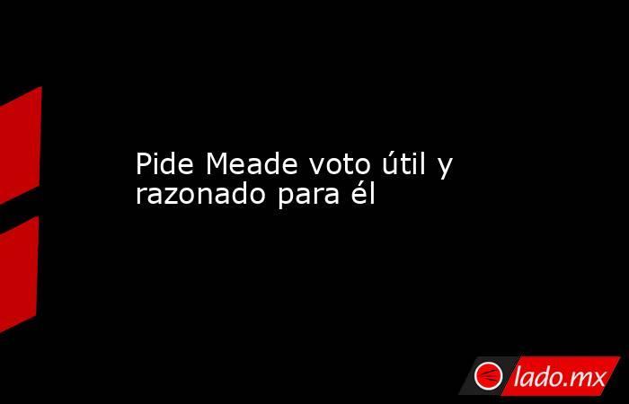 Pide Meade voto útil y razonado para él. Noticias en tiempo real