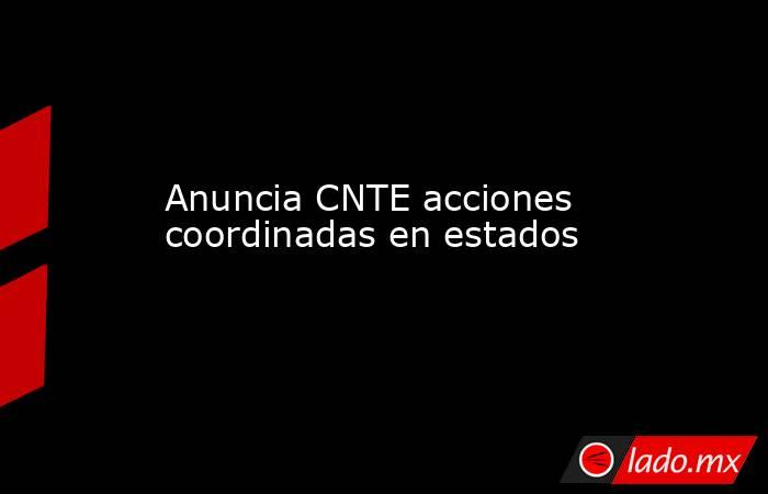 Anuncia CNTE acciones coordinadas en estados. Noticias en tiempo real