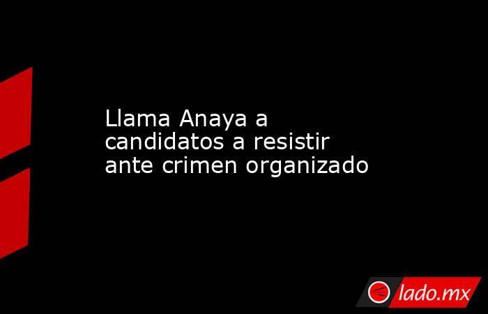 Llama Anaya a candidatos a resistir ante crimen organizado. Noticias en tiempo real