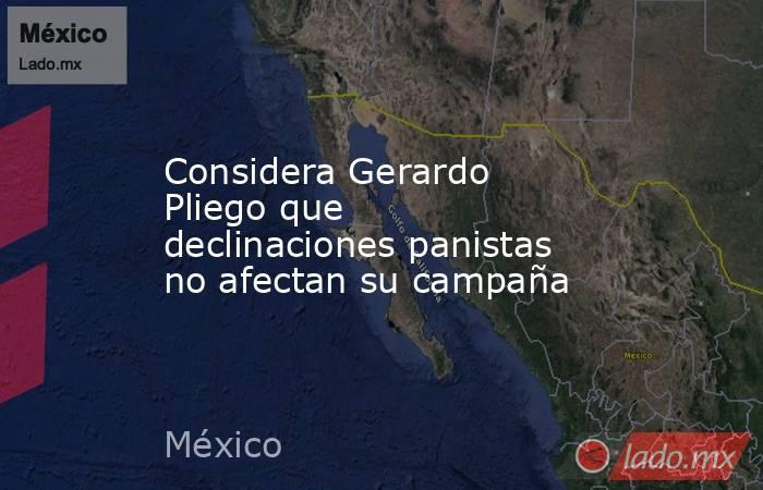 Considera Gerardo Pliego que declinaciones panistas no afectan su campaña. Noticias en tiempo real