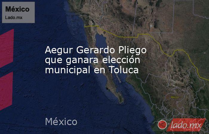 Aegur Gerardo Pliego que ganara elección municipal en Toluca. Noticias en tiempo real