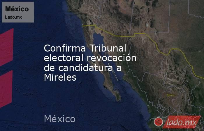 Confirma Tribunal electoral revocación de candidatura a Mireles. Noticias en tiempo real