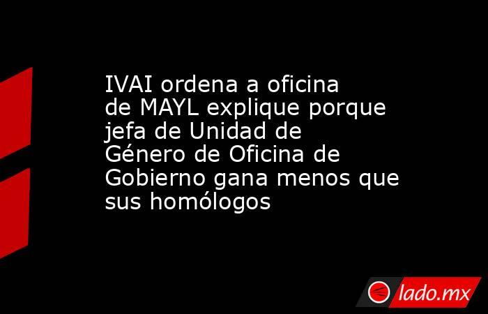 IVAI ordena a oficina de MAYL explique porque jefa de Unidad de Género de Oficina de Gobierno gana menos que sus homólogos. Noticias en tiempo real