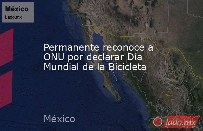 Permanente reconoce a ONU por declarar Día Mundial de la Bicicleta. Noticias en tiempo real
