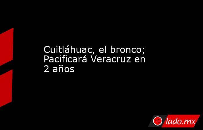 Cuitláhuac, el bronco; Pacificará Veracruz en 2 años. Noticias en tiempo real