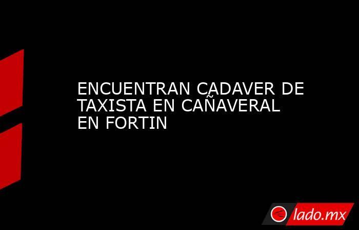 ENCUENTRAN CADAVER DE TAXISTA EN CAÑAVERAL EN FORTIN. Noticias en tiempo real