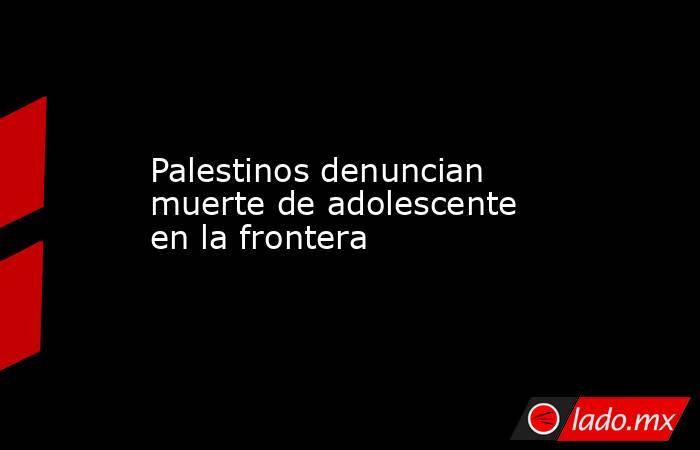 Palestinos denuncian muerte de adolescente en la frontera. Noticias en tiempo real