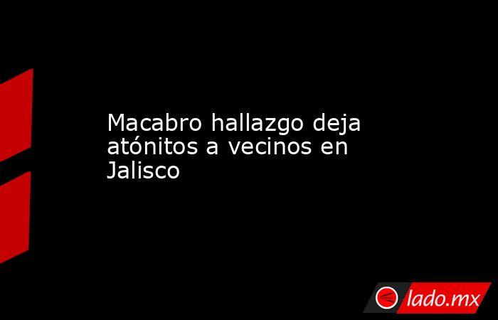 Macabro hallazgo deja atónitos a vecinos en Jalisco. Noticias en tiempo real
