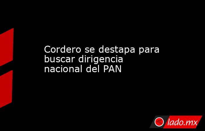 Cordero se destapa para buscar dirigencia nacional del PAN. Noticias en tiempo real