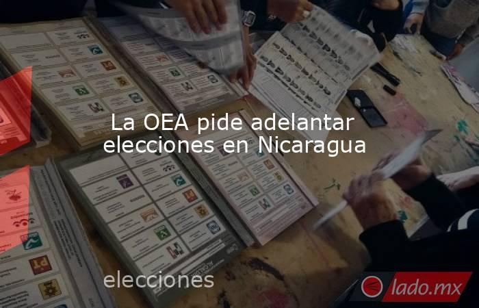 La OEA pide adelantar elecciones en Nicaragua. Noticias en tiempo real