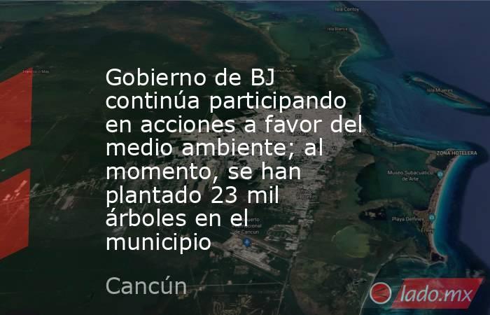 Gobierno de BJ continúa participando en acciones a favor del medio ambiente; al momento, se han plantado 23 mil árboles en el municipio. Noticias en tiempo real