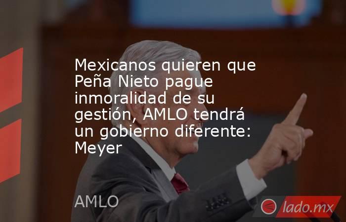 Mexicanos quieren que Peña Nieto pague inmoralidad de su gestión, AMLO tendrá un gobierno diferente: Meyer. Noticias en tiempo real