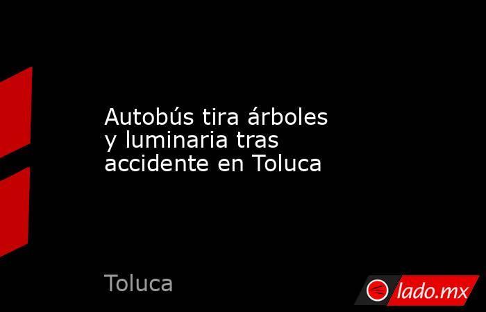 Autobús tira árboles y luminaria tras accidente en Toluca. Noticias en tiempo real