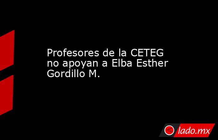 Profesores de la CETEG no apoyan a Elba Esther Gordillo M.. Noticias en tiempo real