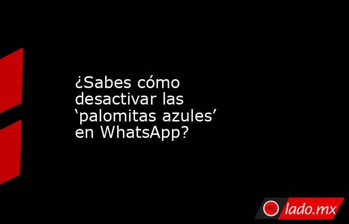 ¿Sabes cómo desactivar las 'palomitas azules' en WhatsApp?. Noticias en tiempo real
