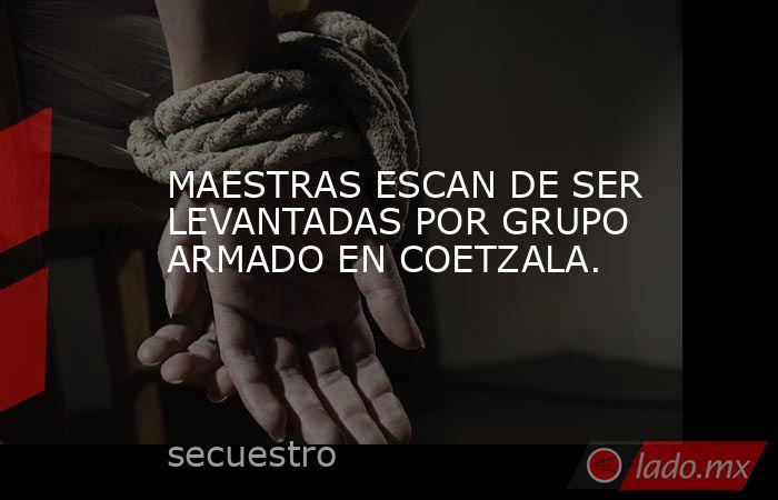 MAESTRAS ESCAN DE SER LEVANTADAS POR GRUPO ARMADO EN COETZALA.. Noticias en tiempo real