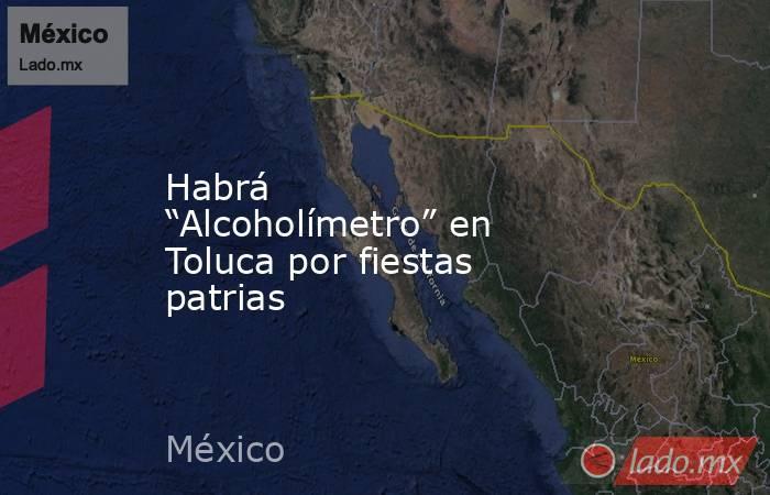 """Habrá """"Alcoholímetro"""" en Toluca por fiestas patrias. Noticias en tiempo real"""
