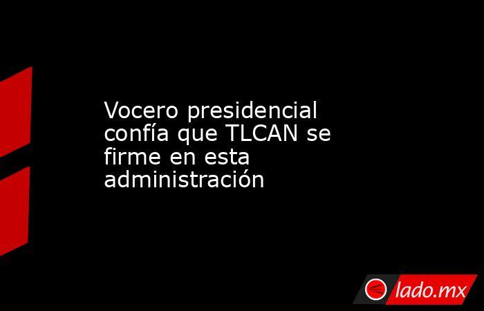 Vocero presidencial confía que TLCAN se firme en esta administración. Noticias en tiempo real