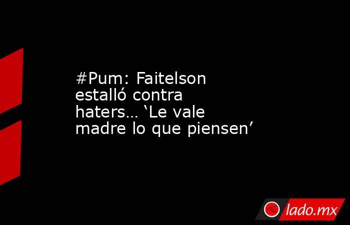 #Pum: Faitelson estalló contra haters… 'Le vale madre lo que piensen'. Noticias en tiempo real