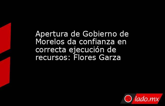 Apertura de Gobierno de Morelos da confianza en correcta ejecución de recursos: Flores Garza. Noticias en tiempo real