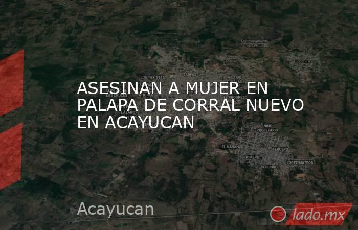 ASESINAN A MUJER EN PALAPA DE CORRAL NUEVO EN ACAYUCAN. Noticias en tiempo real