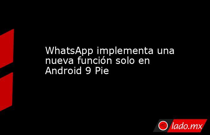 WhatsApp implementa una nueva función solo en Android 9 Pie. Noticias en tiempo real