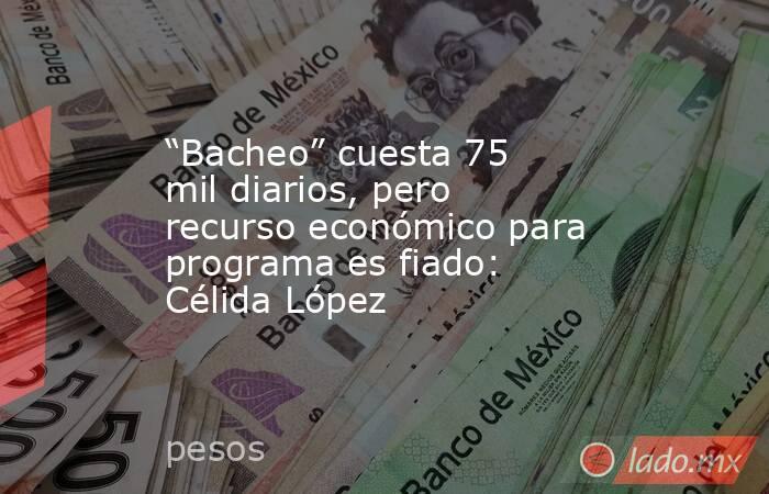 """""""Bacheo"""" cuesta 75 mil diarios, pero recurso económico para programa es fiado: Célida López. Noticias en tiempo real"""