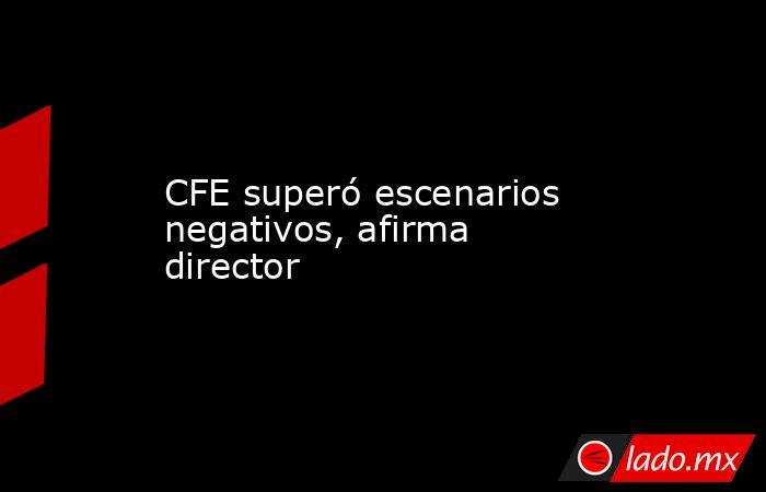 CFE superó escenarios negativos, afirma director. Noticias en tiempo real
