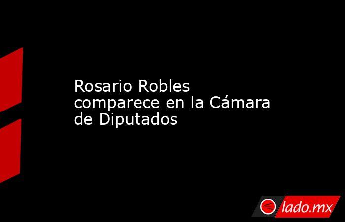 Rosario Robles comparece en la Cámara de Diputados. Noticias en tiempo real