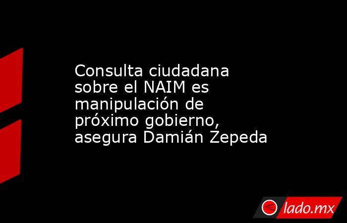 Consulta ciudadana sobre el NAIM es manipulación de próximo gobierno, asegura Damián Zepeda. Noticias en tiempo real