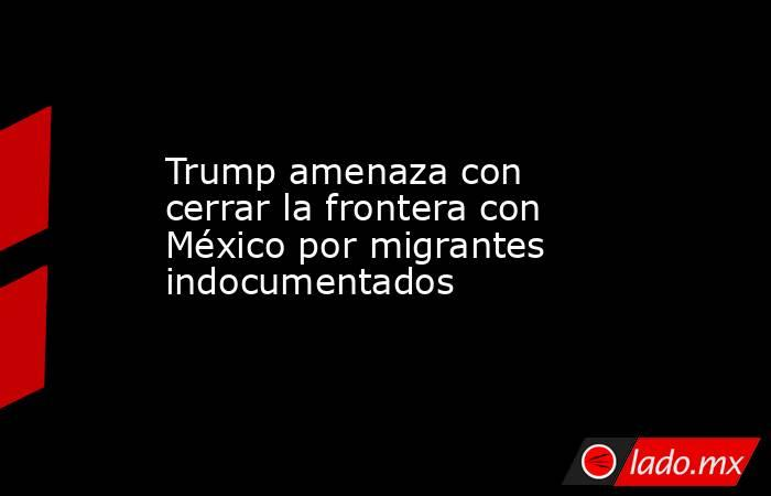 Trump amenaza con cerrar la frontera con México por migrantes indocumentados. Noticias en tiempo real