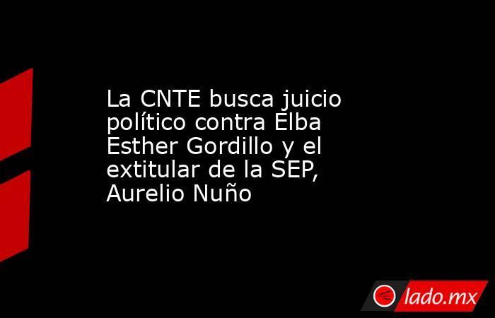 La CNTE busca juicio político contra Elba Esther Gordillo y el extitular de la SEP, Aurelio Nuño. Noticias en tiempo real