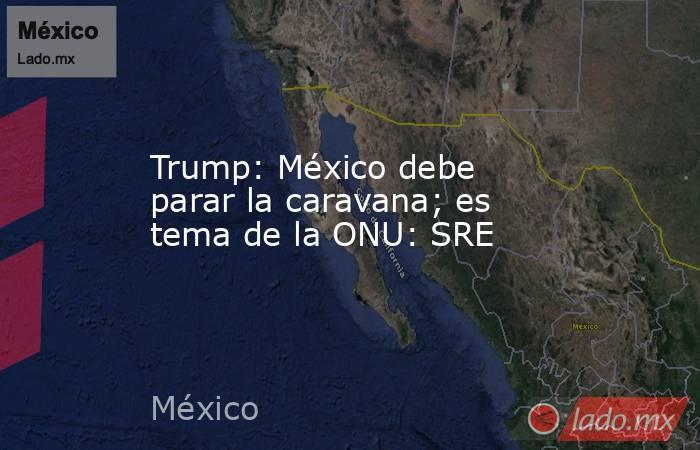 Trump: México debe parar la caravana; es tema de la ONU: SRE. Noticias en tiempo real