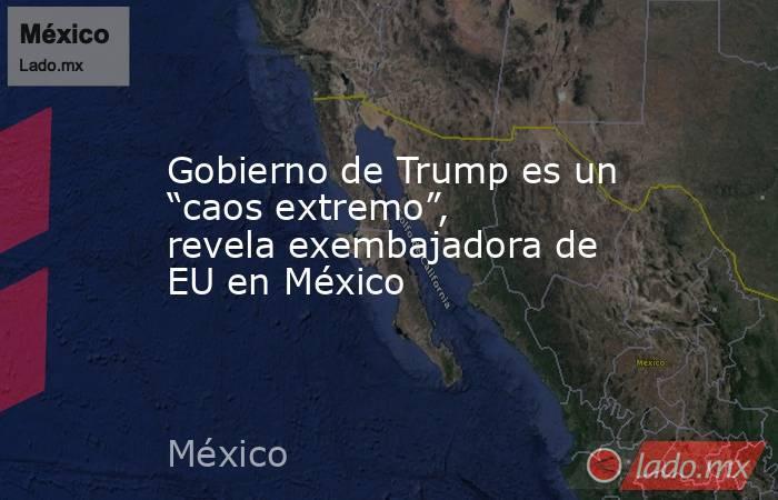 """Gobierno de Trump es un """"caos extremo"""", revela exembajadora de EU en México. Noticias en tiempo real"""