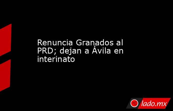 Renuncia Granados al PRD; dejan a Ávila en interinato. Noticias en tiempo real
