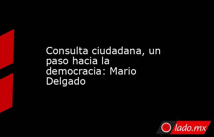 Consulta ciudadana, un paso hacia la democracia: Mario Delgado. Noticias en tiempo real