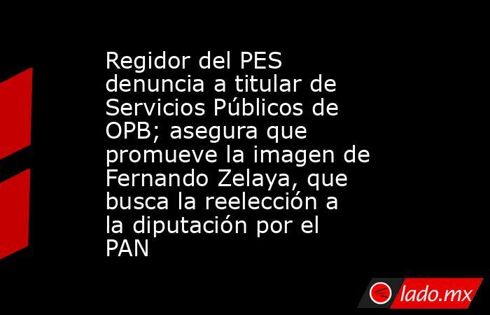 Regidor del PES denuncia a titular de Servicios Públicos de OPB; asegura que promueve la imagen de Fernando Zelaya, que busca la reelección a la diputación por el PAN. Noticias en tiempo real