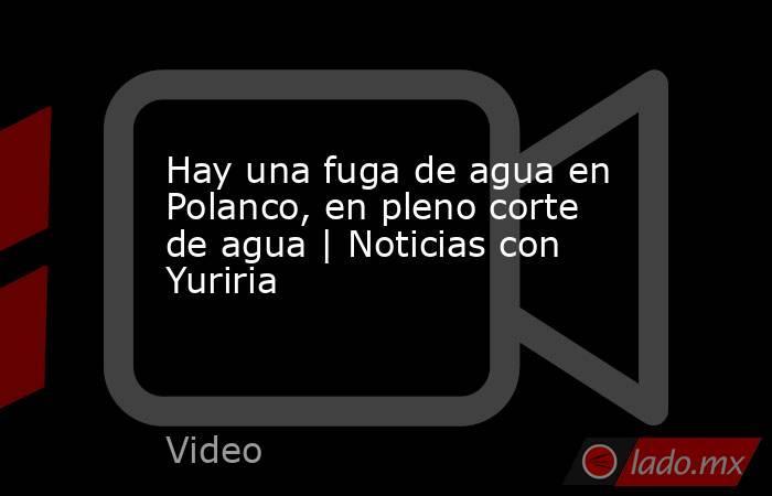 Hay una fuga de agua en Polanco, en pleno corte de agua   Noticias con Yuriria. Noticias en tiempo real