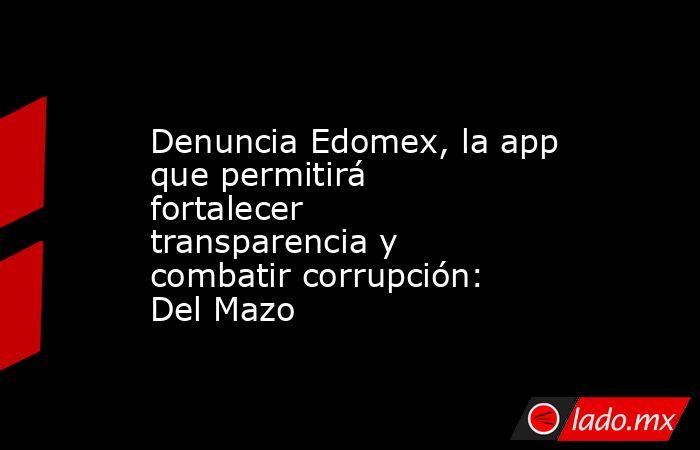 Denuncia Edomex, la app que permitirá fortalecer transparencia y combatir corrupción: Del Mazo. Noticias en tiempo real