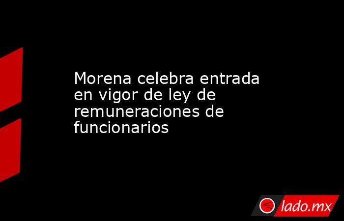 Morena celebra entrada en vigor de ley de remuneraciones de funcionarios. Noticias en tiempo real